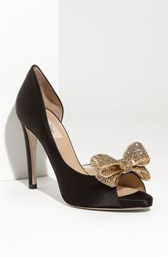 Black wedding heels with gold glitter bow