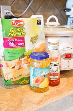 Combine just 3 ingredients in a slow cooker to make a sweet and sour chicken recipe by @SeededTable