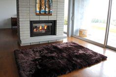 Auskin USA's longwool chocolate sheepskin straight edged rug. Call today for more information!