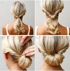 the easy chignon! I find this one easier to make really nice and much less hassle on medium length hair than long hair. Up Dos For Medium Hair, Medium Hair Styles, Curly Hair Styles, Updos For Thin Hair, Updos For Medium Length Hair Tutorial, Hair Tutorials For Medium Hair, Hair Medium, Medium Long, Easy Updo Thin Hair