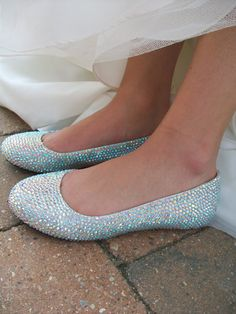 Sparkling Flats Crystal Wedding Ballet Shoes Glass by Parisxox,