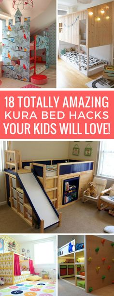 KURA Bed Hacks to Turn a Boring Bed into Something Special! Wow - I never knew you could make a Kura bed look so awesome! These hacks are brilliant!Wow - I never knew you could make a Kura bed look so awesome! These hacks are brilliant! Trofast Ikea, Kura Bed Hack, Ikea Kura Hack, Ikea Hacks, Ikea Hack Lit, Baby Zimmer Ikea, Murphy Bed Ikea, Ideas Hogar, Kids Bunk Beds