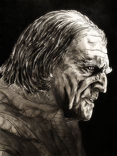 HEADS or TAILS?       ..........Lord Walder Frey by David Bradley; ink & micron sketching