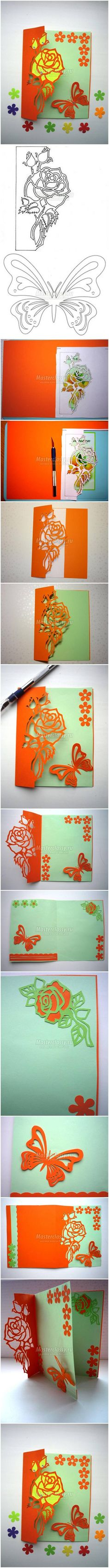 How to DIY Kirigami Rose and Butterfly Greeting Card #craft #Kirigami #greeting_card