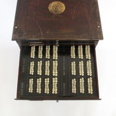 Antique wooden chest containing samples of teeth that Dentists used to build false teeth...ha ha @Lisa Phillips-Barton Elifritz.... I actually have one of these and it is very cool!!!