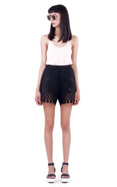 Rendered in black neoprene, this sporty Ioana Ciolacu Trophy shorts feature a relaxed fit and allover laser-cut halftone graphics. Overalls, Shorts, Ready To Wear, Short Dresses, Product Launch, Long Sleeve, Sleeves, How To Wear, Shopping