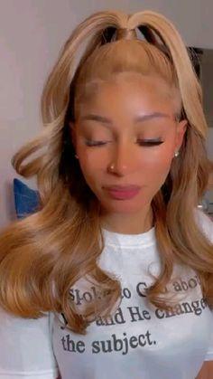Blonde Hair Black Girls, Honey Blonde Hair, Hair Color For Black Hair, Dyed Natural Hair, Dyed Hair, Hair Ponytail Styles, Curly Hair Styles, Cute Hair Colors, Hair Game