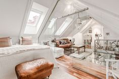Unique attic design which uses glass walls and even partial glass floors to allow light to pass through to lower floor. [850 x 565]