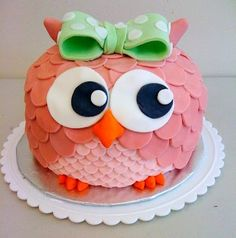 pink owl birthday cake cute baby's first birthday cake or baby shower Pretty Cakes, Cute Cakes, Beautiful Cakes, Amazing Cakes, Owl Cakes, Cupcake Cakes, Ladybug Cakes, Fruit Cakes, Owl Cake Birthday