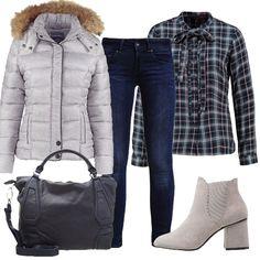 Protagonista di questo outfit è la camicia a quadri con fiocco abbinata ad un caldo piumino grigio, jeans, degli stivaletti grigi e borsa blu da portare sia a mano che a tracolla.