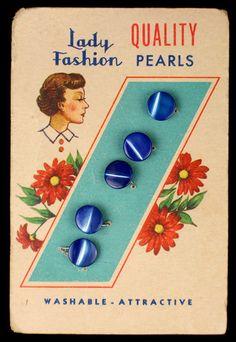 Vintage Lady Fashion, blue MOP buttons on original card.