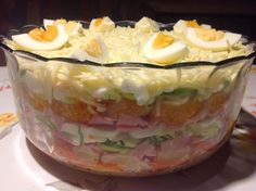 24 – Stunden – Schichtsalat mit Ananas und Mandarinen, ein tolles Rezept aus der… 24 – hour layered salad with pineapple and tangerines, a great recipe from the category of eggs & cheese. Vegan Appetizers, Finger Food Appetizers, Appetizer Recipes, Seven Layer Salad Dressing Recipe, Summer Recipes, Great Recipes, Homemade Cornbread, Snacks Für Party, Macaron