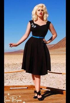 """The Pinup Couture """"Annalise"""" Swing Dress in Black with Blue Swallows Embroidery"""