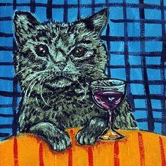 Fancy - BLACK CAT AT THE WINE BAR ANIMAL ART TILE COASTER