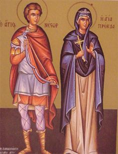 Pilate's wife, Saint Procla (right), in a Greek Orthodox icon