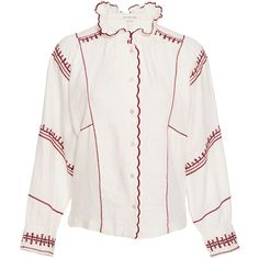 Isabel Marant Étoile Delphine Ruffle Mock Neck Shirt (600 CAD) ❤ liked on Polyvore featuring tops, blouses, white, ruffle blouse, victorian ruffle blouse, white embroidered blouse, boho shirts and embroidered blouse