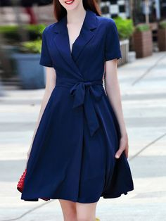 Blue A-line Lapel Short Sleeve Asymmetric Midi Dress with Belt Stylewe