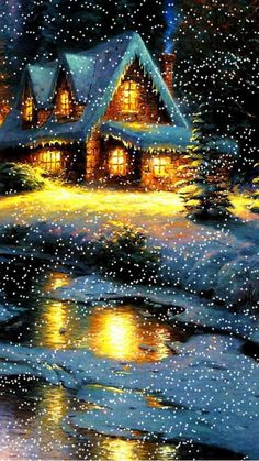 must be kinkade, love his work, he play of lights and snow.