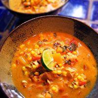 Roasted Corn Chowder with Chicken & Cilantro by Gluten-Free Goddess