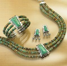 Shop Smithsonian's turquoise jewelry including necklaces, earrings and bracelets with beautiful turquoise blue stones, some by native American artisans. Beaded Jewelry, Jewelry Necklaces, Diy Jewellery, Bracelets, Turquesa E Coral, Turquoise Jewelry, Turquoise Bracelet, Jewelry Sets, Jewelry Making