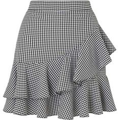 Miss Selfridge Black Gingham Ruffle Mini Skirt
