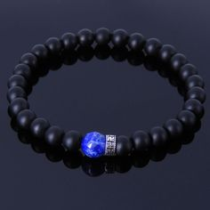 Handmade Gemstone Bracelet Black Onyx Lapis 925 Sterling Silver Charm MEN WOMEN #Handmade #GemstoneBraceletforMenWomen