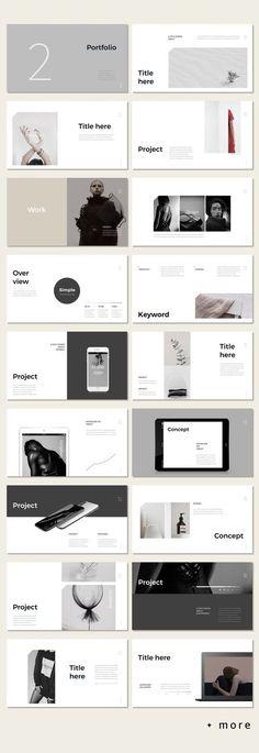 Awesome Simple Portfolio Presentation Template #minimal #presentation #ppt #template #portfolio #marketing