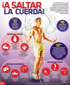 #SabíasQue saltar la cuerda 10 minutos aporta beneficios similares que trotar 30 minutos. #Infographic