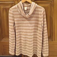 Women's long sleeve shirt Women's tan striped cowl neck long sleeve shirt Faded Glory Tops Tees - Long Sleeve