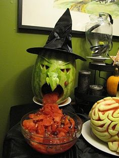 Fruit Salad Vomiting Melon Witch! ~ heehee!  #halloween #party #appetizer