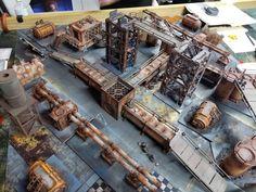 The Narrative Forge: Easy Necromunda Terrain! Warhammer Terrain, 40k Terrain, Game Terrain, Wargaming Terrain, Warhammer 40k, Necromunda Gangs, Metallic Spray Paint, Thinking Outside The Box, Miniture Things