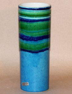 Vintage Italian Art Pottery Baldelli Striped Banded Vase Cylinder Raymor Gimbals