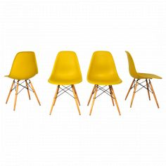 4 chaises DSW Moutarde de Charles et Ray Easmes pour Vitra