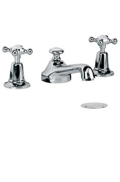 Lefroy Brooks Classic three hole basin mixer with Connaught handwheels and pop-up waste  341 for chrome Code LB1220