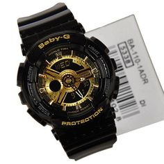 New Casio Baby-G-Shock Black Gold Face Chronograph Women's Watch G-BA110-1A #Casio #Sport