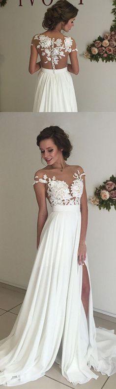 Unique ivory chiffon lace round neck long prom dress for teens, evening dress, white bridesmaid dress