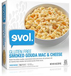 EVOL Gluten Free Smoked Gouda Mac & Cheese--Delicious, though the pasta breaks down when stirred.