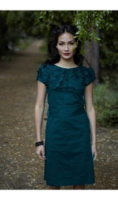 Teal Floral Neck Dress with Cap Sleeves Side Zip and Tie Waist