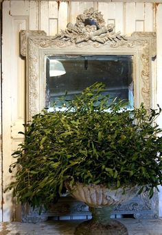 ATELIER DE CAMPAGNE ~ Rustic Mirror and Plant Container