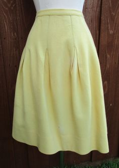 Yellow Wool Pleated Skirt Vintage Butter Yellow by GeekGirlRetro