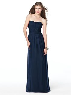 long navy bridesmaids dress