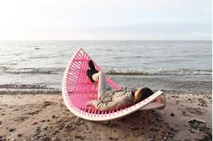 Lithuanian designer Agota Rimsaite's Panama Banana is a quirky outdoor, rocking hammock that can also be used as a soccer goal.