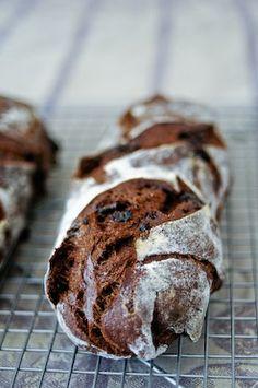 French Chocolate Bread // hydration starter, bread flour, cocoa powder, yeast, water, sea salt, dark chocolate