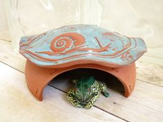 Ceramic Frog House Toad Abode Big Snail In The by MyMothersGarden. $38.00, via Etsy.
