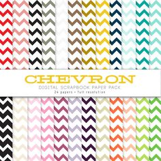 Chevron Digital Paper Pack 24 count by youngwanderlust on Etsy, $2.00....cheap and awesome-if you like chevron patterns this is great for art and modgepodging