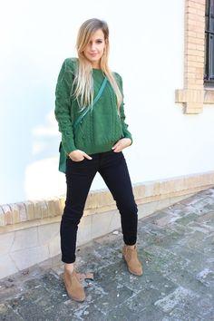 Looks de chica con jerseys verde oscuro - Trendtation Moda Gris 72dce838d8c7