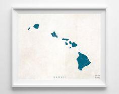 Hawaii Map Hawaii Print Hawaii Poster Map Print by InkistPrints