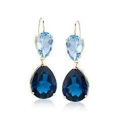 Dazzling 25.00 ct. t.w. earrings swing blue topaz and London blue topaz teardrops. >>Click on these Blue Topaz Earrings to see more glamorous styles at Ross-Simons.