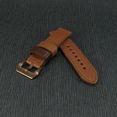 Handmade 2-Tone Brown Crazy Horse Leather Watch Strap by CozySG