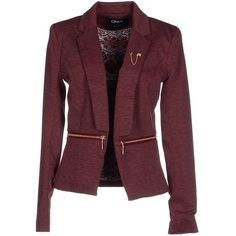 Only Blazer ($130) ❤ liked on Polyvore featuring outerwear, jackets, blazers, maroon, purple jacket, maroon jacket, maroon blazer, purple blazer and collar jacket